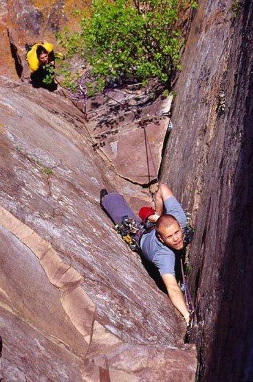 Dave Stenhejem on Mack the Kinfe - below crux