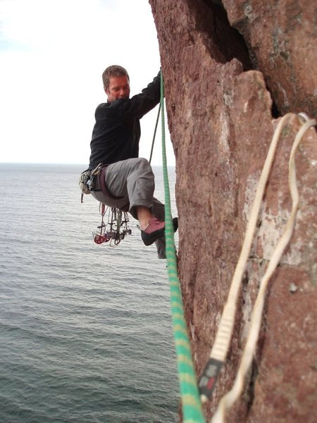 Kris G. on Laceration Jam (and he's smiling on the spooky traverse!)