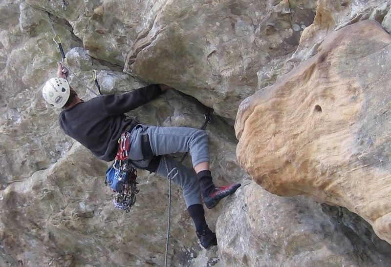 Leading the steep section of Who Need Friends 5.12a (on gear).