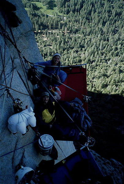 Bivying on top of pitch 9, party pig in tow.
