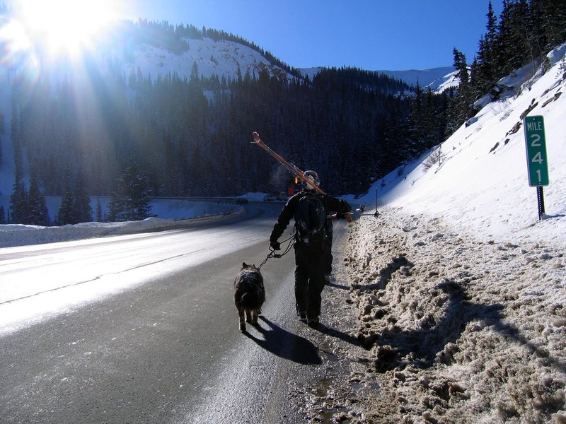 Coming off Berthoud with Luna