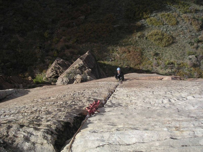Following the 4th pitch - C2<br> Photo by D. Jones