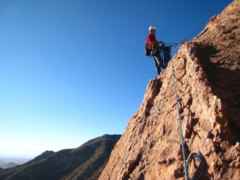 The belay at the top of pitch 5 of Moby Dick.  Note the bomber slung head.