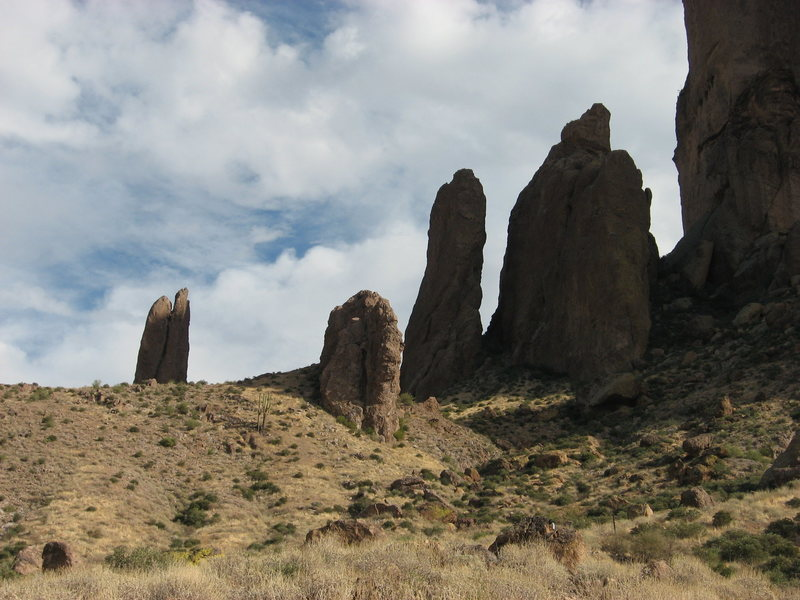 The Hand, Superstitions, AZ is creeping into the picture on the left along with various other pinnacles to the right.
