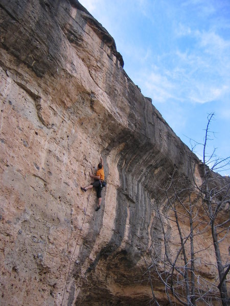 """The excellent unknown route on the far right end of the Mad Cow Wall.  Reaching for the 1/2"""" edge below the crux bulge."""