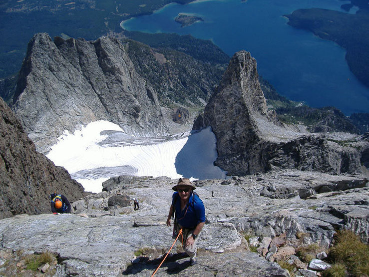 Nearing the top of the CMC route on Mt. Moran on a one-day ascent. Not bad for an old duffer like Ray.