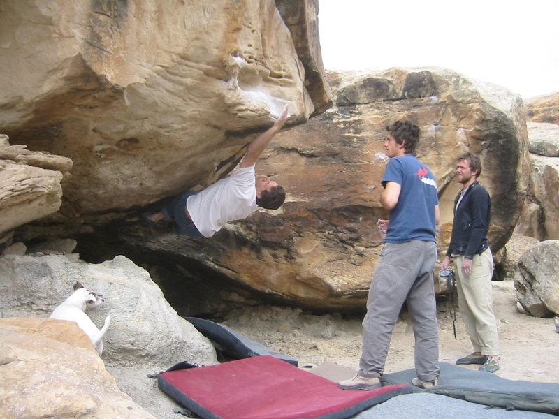 Bob on boulder.