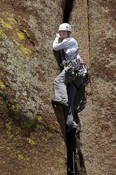 My husband, Mark, leading some of the easier parts of Fantasia.  What an awesome climb!  Worth spending all that money on the big cams.