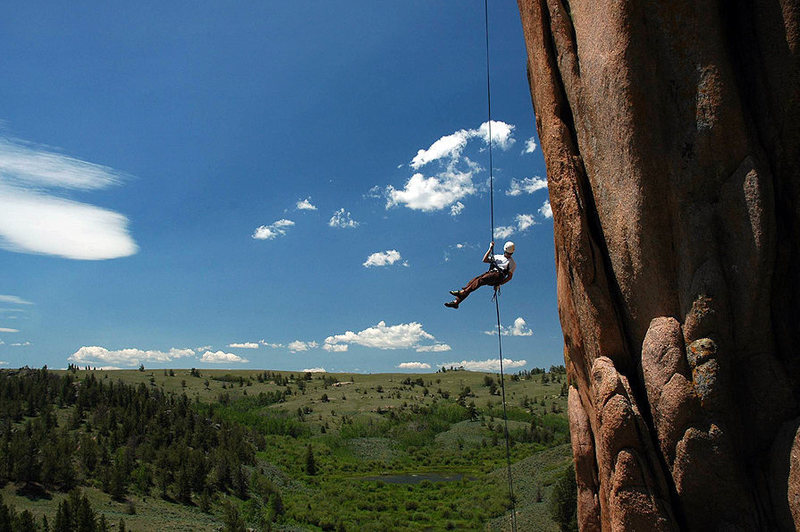 Mark rappelling off of the Holy Saturday formation.  An awesome, wild, long rap!