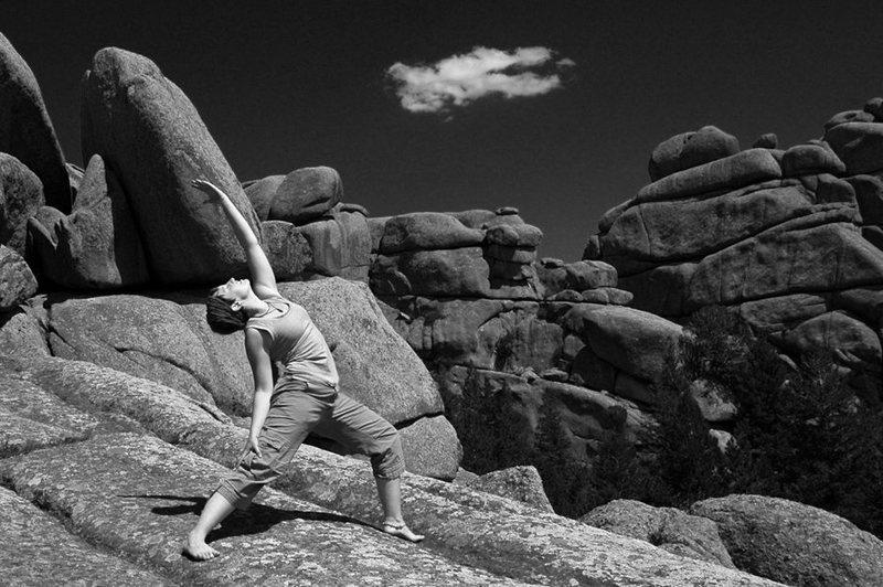Doing yoga on top of Blair III.