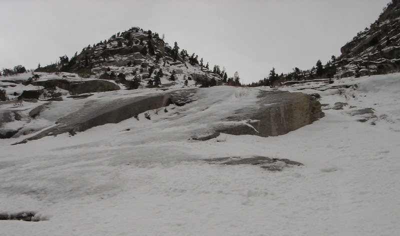The section above where Forgotten Slab is, offers the most continuous ice.