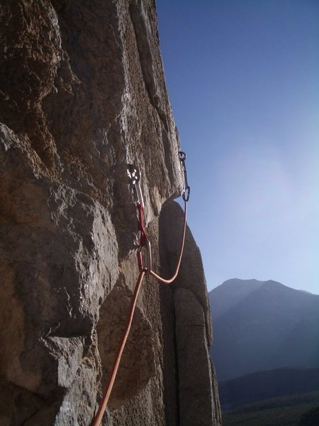 A look from the belay on the traverse pitch.