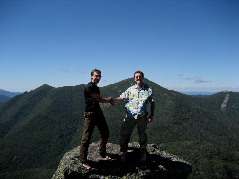 Me & David on the summit boulder of Mt. Colden (Photo: Russ Clune)