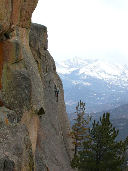 Jim Belcer stretching on the crux moves, 4-27-03.