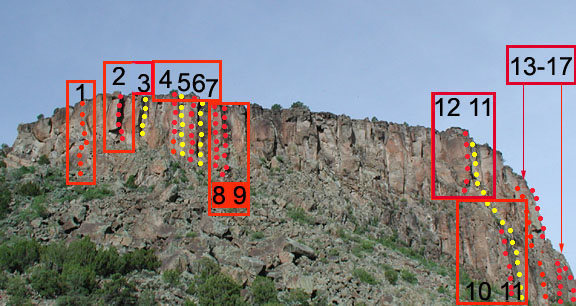 Routes on the left side of Early Wall<br> <br> Photo courtesy of [[106008662]], author of the [[Diablo Online Guide]]http://www.losalamos.com/diablo/default.asp.<br>