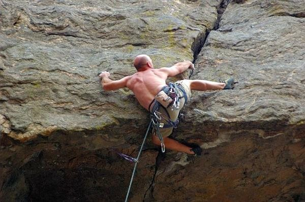 Finishing the crux sequence - get the right hand and stand up.