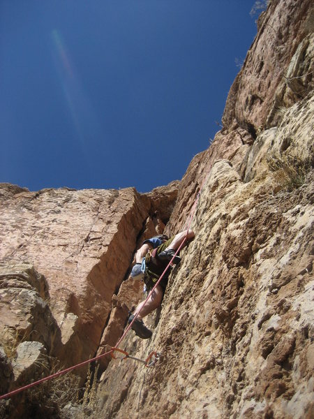 Climbing at the second clip.