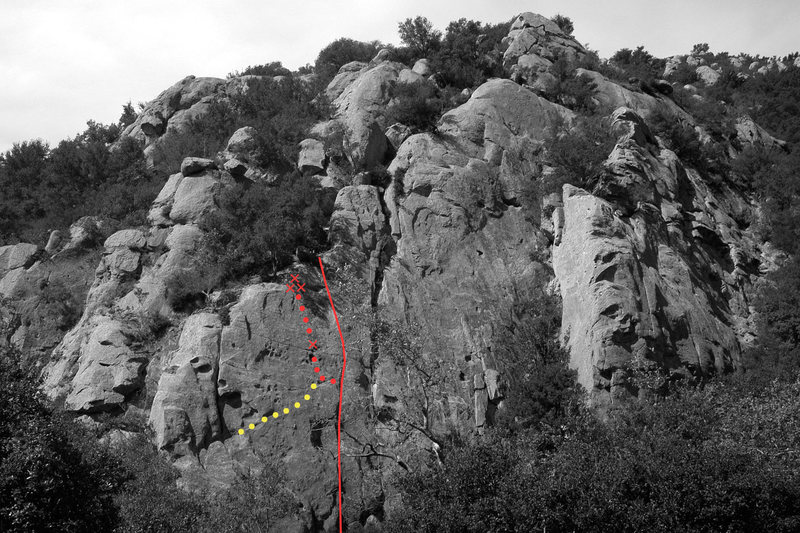 "Applied Magnetics: Old & New<br> <br> According to conversations with Tom Adam and others, the original line taken by Chouinard & party up ""Applied Magnetics"" followed a shallow, intermittent seam all the way to the top of the cliff (shown as the red line on the right in this photo).  The route that is now universally climbed steps left from Applied Magnetics and incorporates the protection bolt and face climbing on the top of ""Brush Up Your Shakespeare"" (shown as the red dots in the middle).  Brush Up is actually a variation of Rockoco.  Brush Up's line steps boldly right from the alcove below the overhang on Rockoco.  After traversing for 30 feet, the line turns upward and climbs delicate face moves past a bolt (shown as the yellow dots on the left)."