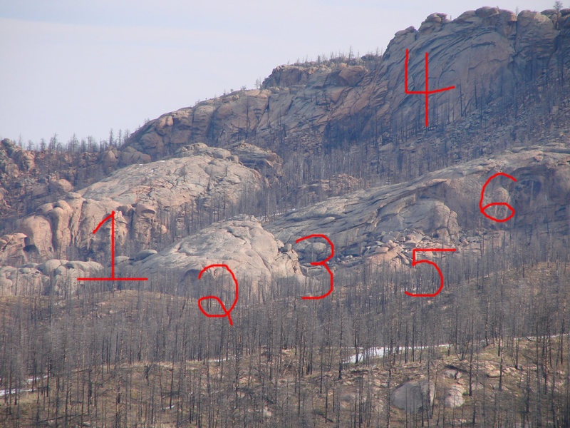 1-Alligator Lounge<br> 2-Quarry Wall<br> 3-For Real Canyon<br> 4-Arch Rock<br> 5-Wasp Canyon (hidden)<br> 6-Brown Wall<br> <br>
