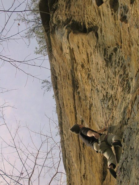 STEEEEP...as usual at the Red.  <br> <br> Kris sizing-up Super Dario, 5.11a.  <br>