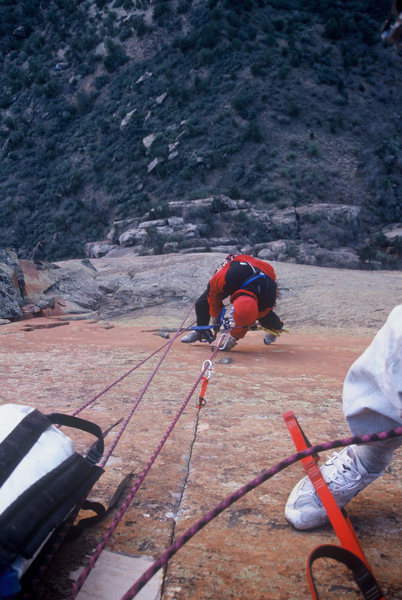 Kim Miller cleaning pitch 5 in April of 2000
