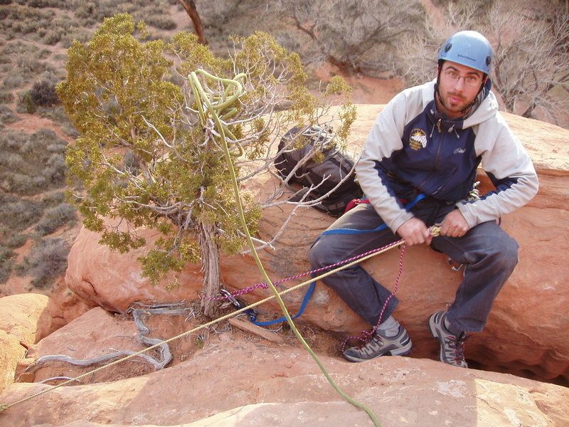 """We retied a new achnor with a steel rap ring. The summit anchor is a solid pin and this """"tree."""""""