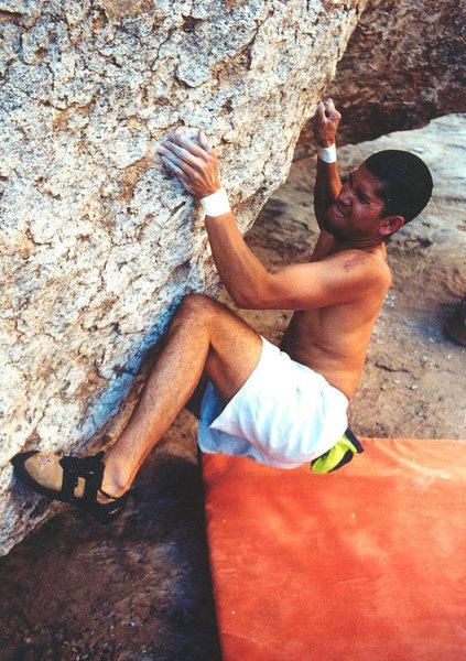 Phil Caballero bouldering at Queen Creek.
