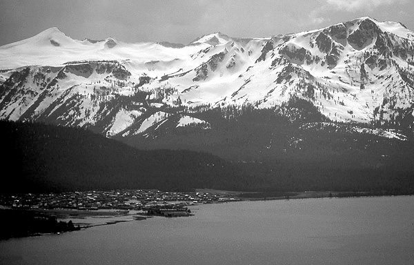 Tahoe Keys, Crystal Range and Mt. Tallac.<br> Photo by Blitzo.