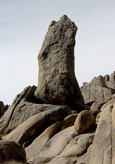 """""""The Burnt Penis"""" route climbs the right side.<br> Photo by Blitzo."""