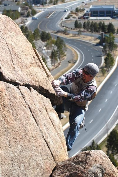 """Sean Carlson over the """"Abyss"""" on the Road Cut Boulder - Reno  Photo: Sulli"""