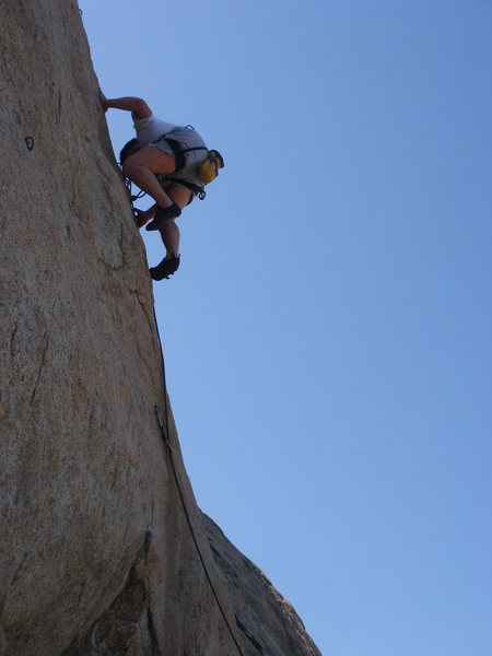 leading Sunshine Daydream (5.10b) on the Sundeck, BR<br> <br> photo by Wes Warwick