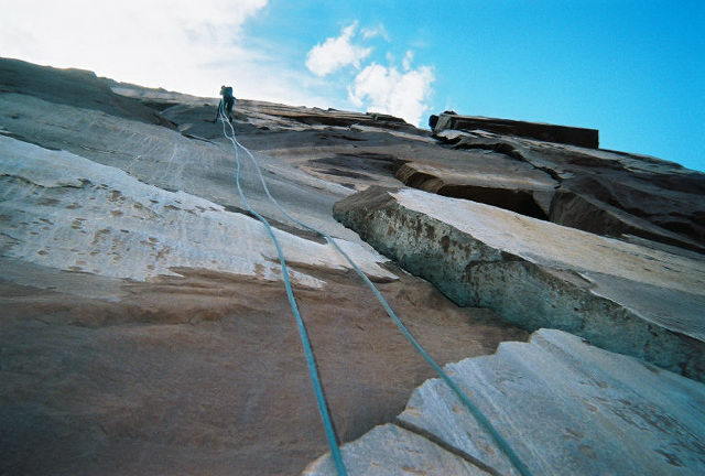 Rappin' the north face of Castleton Tower--dead vertical for 3 double raps