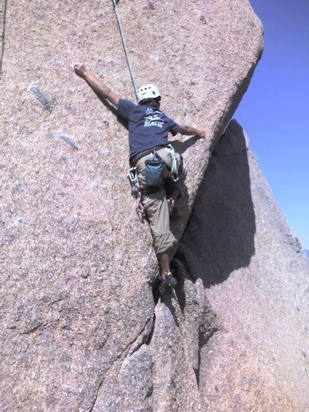CM moving into the crux section