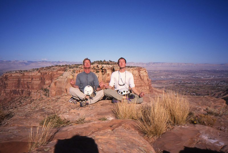 Carl Pelletier and Kurt Johnson enjoying a moment of meditative bliss on the summit of Independence Monument.