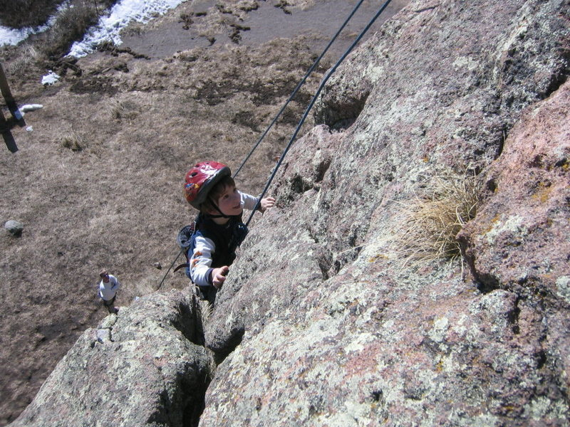 """Cody climbing """"A La Verga"""" on the Cattle Call Wall at Las Conchas. March 23, 2008."""