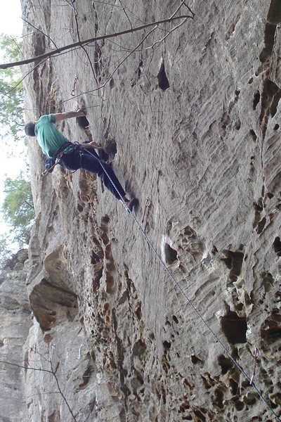 Above the crux...