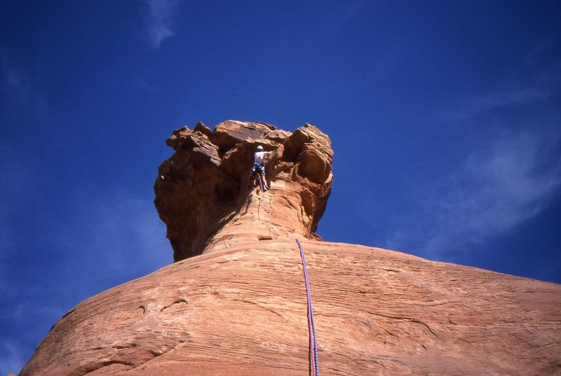 Charles Vernon at the crux, Otto's Route.