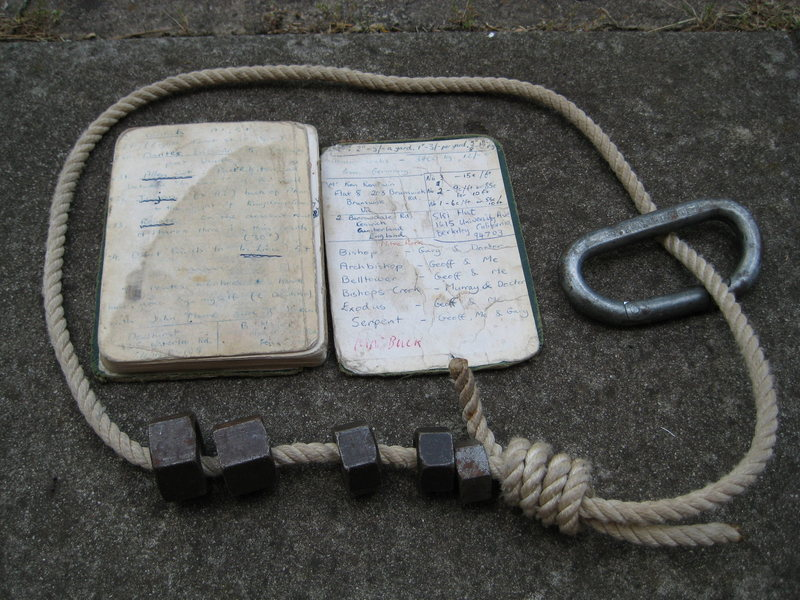 Passive climbing gear used during the era of the first ascent.  Compliments of Keith Lockwood collection.