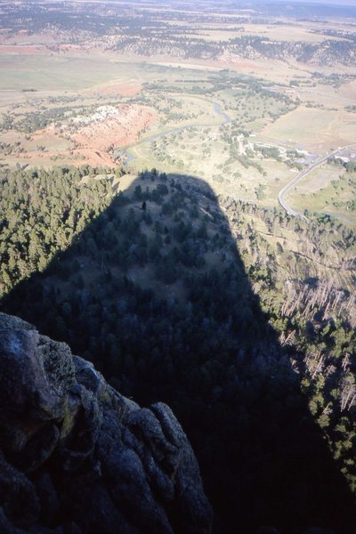 Its shadow bears witness to its presence. Devil's Tower, Wyoming.