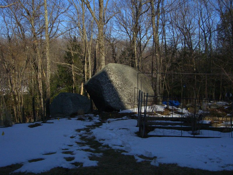 A view of the Lemon Boulder from my driveway.  What luck to have this wonderful piece of rock in my front yard!
