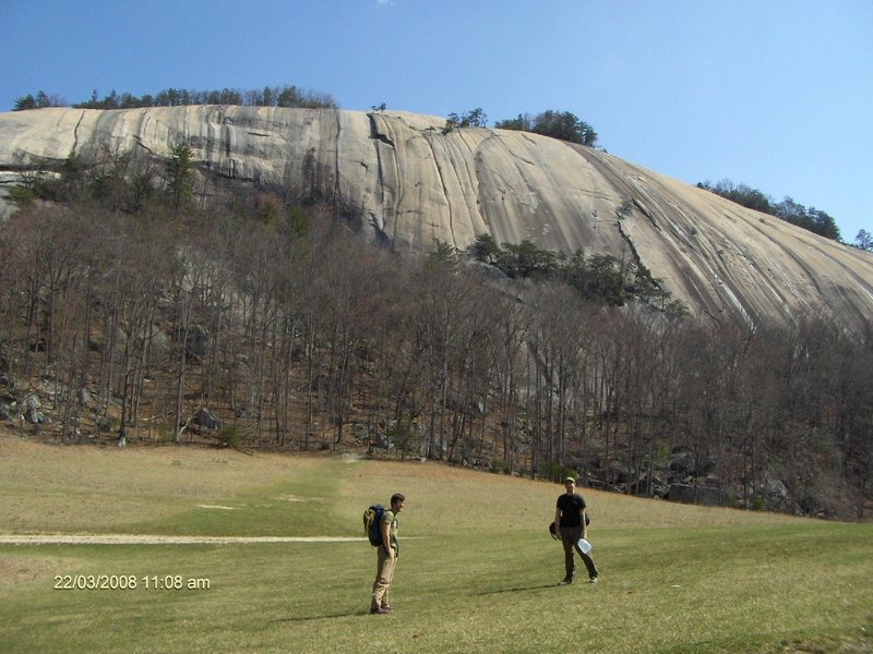 View of Stone Mountain from the field below.  I'm the nerd on the right.