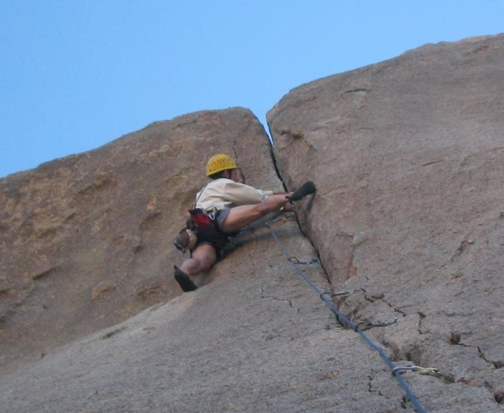 Placing the last piece before firing the crux!