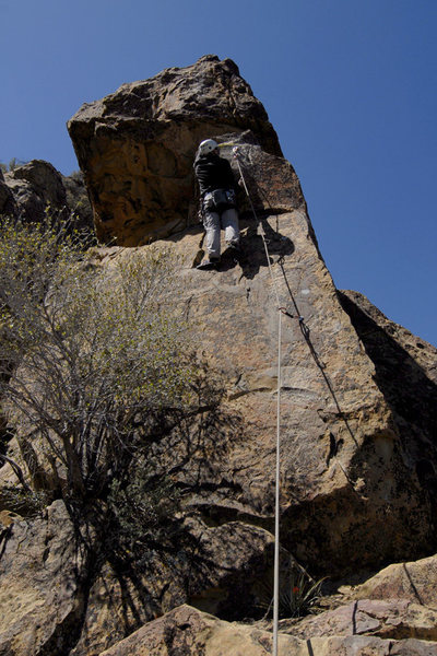 Romain Wacziarg climbs Seven Steps to Heaven at the Fortress, during the route's first ascent.