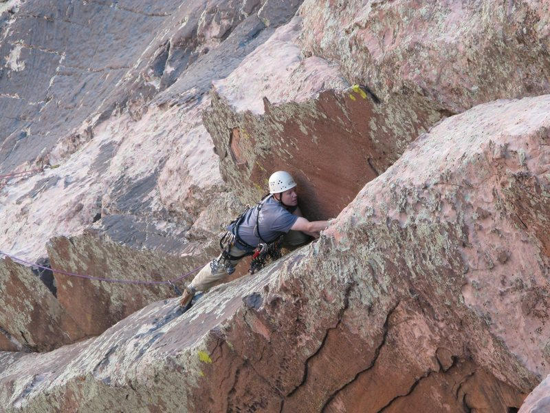 Brett on the final pitch. I thought this corner was the crux of the climb (5.7), the recent guidebook called it 5.6.