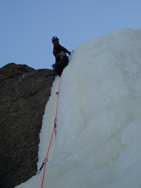 Topping out on the 2nd pitch of Mean Green<br> Photo by Brandon Miller