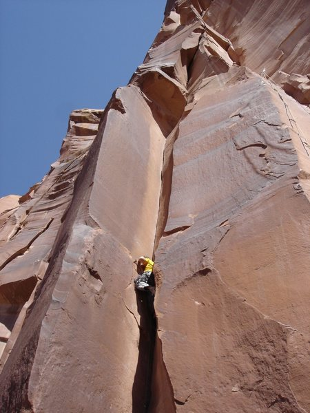 Wierd start to gain the ledge on Where's Carruthers?  Great route though.  Just left of Scarface (the TR in the pic)