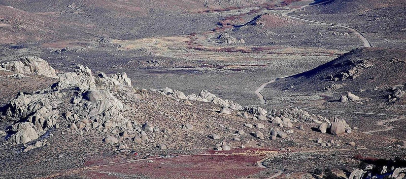 A look at 'Buttermilks Main', from high on the moraine between Mt. Tom and Basin Mtn.