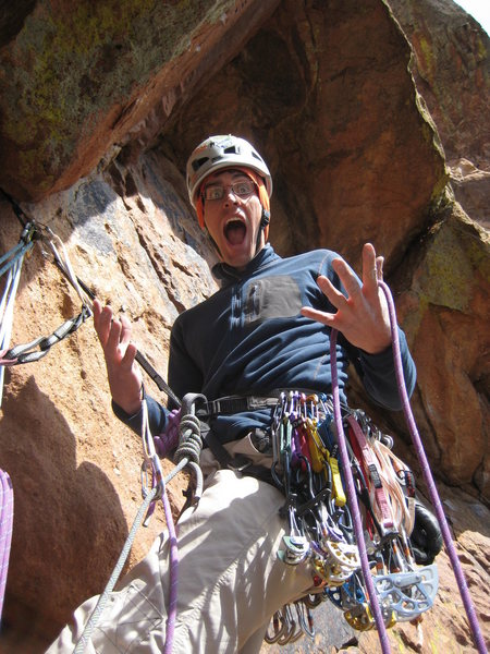 First belay of Alice, after getting slightly scared.