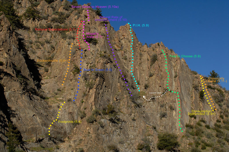 This photo shows many of the routes in both the Central and Right-Side Gullies at the Fortress.  It is now possible, with a little creativity, to link a complete circuit of both gullies.