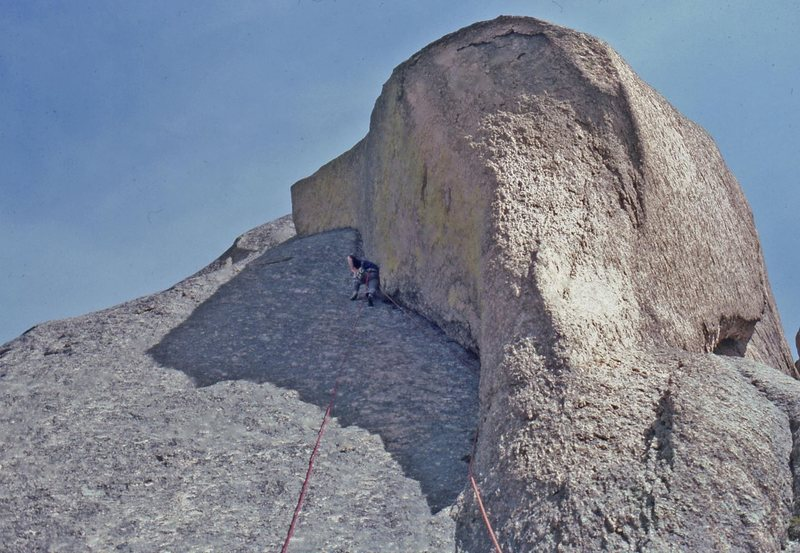 Mack Johnson leading the dihedral pitch (pitch 8 on the topo, pitch 7 in the posted description). Second ascent. May, 1980.